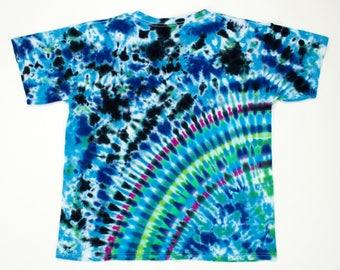 Youth Large Blue Green Amethyst Radiating Planet Tie Dye T-Shirt