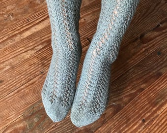 Viridian Blue Naturally Dyed Women's Socks with 7 inch leg