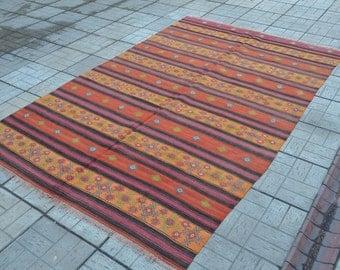 Vintage Kilim rug. Turkish striped kilim. Orange Kilim rug. Vintage rug. Free shipping. 9.4 x 6 feet.