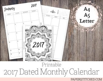 Printable 2017 Dated A4, A5, Letter Size Monthly Planner Inserts, Ringbound, Minimalist, Mandala, JAN - DEC 2017