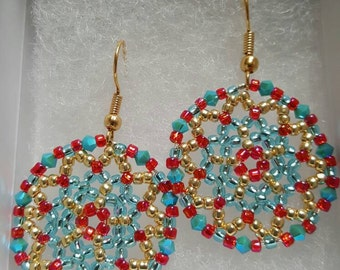Beautiful Handmade Beaded Earrings. Turquoise, gold and pink.  Great for everyday use, holiday jewelry or any special occasion!!