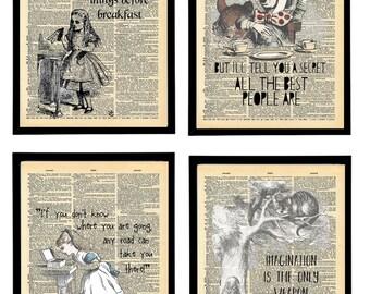Alice in wonderland quote art prints. Alice quotes art print. Vintage prints packs.
