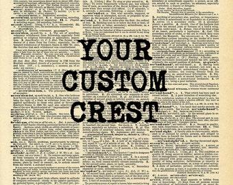 Antique Custom family crest art print. Custom family coat of arms print. Vintage print.