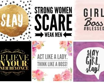 20 Girl Boss Instagram Posts, Brand Building, Facebook Posts, Hashtags Included, Social Media Growth, Social Media Posts