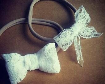 Lace bows, lace headband bow, hand tied bows, white lace bows, baby headband, small bow headband, newborn headband