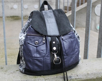 Backpack, aubergine faux leather, Rosenprint, partial Upcycling