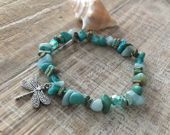 Ocean bracelet, Beach Resort Jewelry, Dragon Fly, Turquoise Stone Bracelet