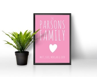 Personalised Family Print / Personalised Family Name Print / Family Print