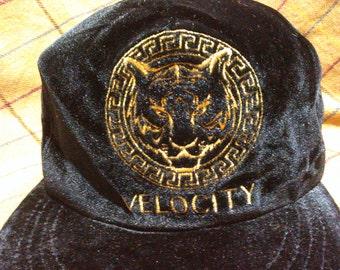 Vintage Velvet Cap Hat Vintag Velvet Cap Hat Tiger Embroidered