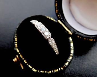 Art deco style diamond wedding ring, art deco style diamond eternity ring, vintage style diamond band, vintage style diamond engagment ring