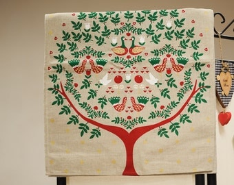 Linen kitchen tea towel / tree with golden and white stars