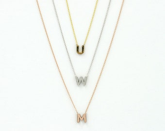 Alphabet Necklace.14K SOLID GOLD initial necklace.Personalized Capital Letter Necklace.Custom Initial Dainty Charm Necklace.Minimalist