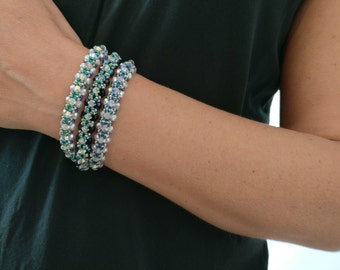 3 Bracelets Set, Swarovski Bracelet, White Bracelet with colors touch, Young Bracelet, Boho Bracelet, one of a kind, Gift for Daughter