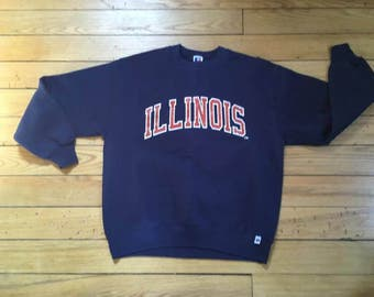 Vintage 90's Illinois Fighting Illini Retro Crewneck Sweatshirt NCAA L