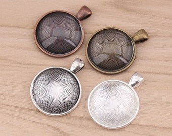 100sets 1 inch Cabochon Pendant Tray, Silver 25mm Pendant Tray Settings + Clear Glass Cabochons, Glass Pendant Kits