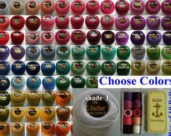 12 ANCHOR Pearl Cotton Crochet Embroidery Thread Ball Balls JP Coats Perle Cotton 85m size 8 . Colors Send in Message. Free Shipping