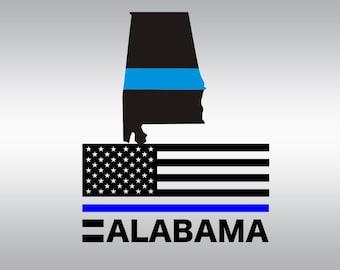 Thin blue line svg, Back the blue svg, Law enforcement svg, Alabama SVG Files, Cricut, Cameo, Cut file, Files, Clipart, Svg, DXF, Png, Eps
