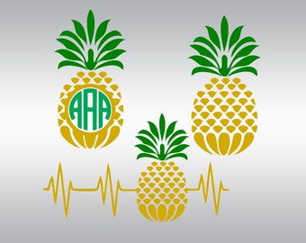 Pineapple monogram svg, Pineapple svg, Pinapple svg, Heartbeat svg, Pineapple clipart, Cricut, Cameo, Cut file, Clipart, Svg, DXF, Png, Eps