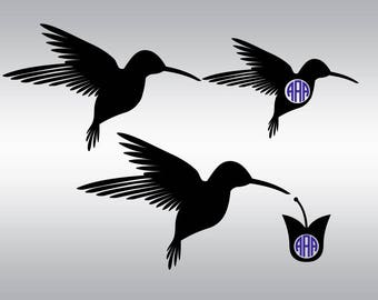 hummingbird svg, Hummingbird Monogram svg, Hummingbird silhouette, Bird svg, Flowers svg, Cricut, Cameo, Clipart, Svg, DXF, Png, Pdf, Eps