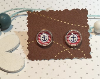 """maritime earrings cabochon """"anchor striped"""""""