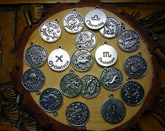 Astrology Sign Silver Charms