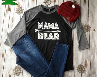Mama Bear 3/4 Sleeve Raglan T-shirt