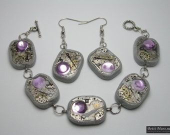 """Steampunk jewelry set (Steampunk) """"techno"""" from the bracelet and earrings polymer clay with Rhinestones."""