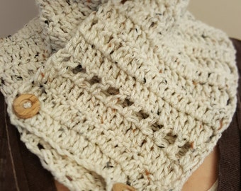 Neck warmer/cream with flecks/cowl/wood button/neutral/scarflette/crochet scarflette/gift for her
