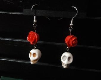 Red Rose and White Skull Earrings