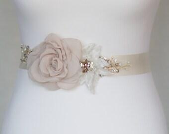 Bridal sash, wedding belt, Floral waist sash,Champagne  Vintage belt, Floral bridal sash, floral wedding belt, Wedding belts sashes