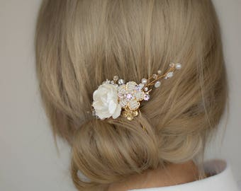 Bridal hair piece, Bridal headpiece, Gold Wedding hair comb, Gold Wedding headpiece, Gold weddings, Bridal haipiece, Bridal comb