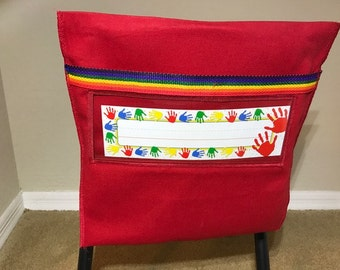 Ten Chair Pockets  for elementary school chairs in any of three colors - can mix and match