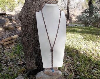 Aquamarine and Copper Lariat Necklace Set