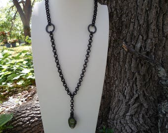 Boho Chic Black Brass Long Necklace With Agate Slice Pendant