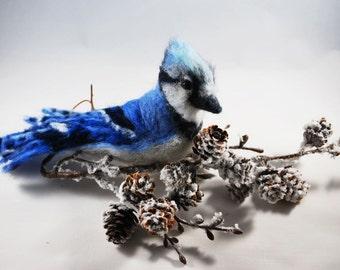 Needle Felted Blue Jay