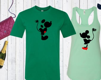 Mickey Mouse and Minnie Mouse Disney Matching Shirts. Disney Couples Shirt. Disney Valentines Day [E0251,E0258][E0250,E0257]
