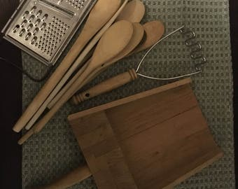 Vintage wooden Kitchen spoons, scoop, grater lot