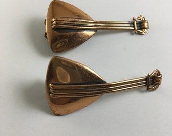 Vintage Renoir Copper Lute Clip on Earrings, Mid Century Modern