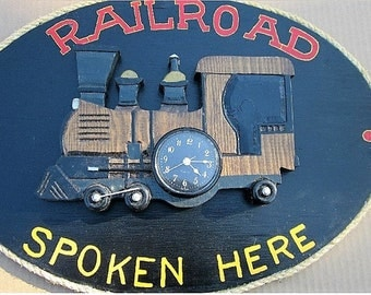 Railway Clock Oval Shape With Train Engine.
