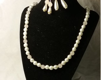 Pearl and Pink Necklace and Earrings (One set only). Suitable Renaissance Costume