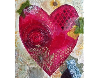 Textured Heart Painting, Wedding gift, Anniversary gift, Heart Art, Valentines Day Gift, palette knife painting - collage, mixed media