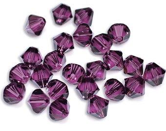 Swarovski Crystal Bicone Amethyst Beads 5301/5328- Available in 4mm, 6mm