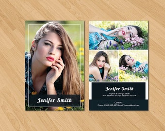 Model comp card photoshop template am001 instant for Free model comp card template psd