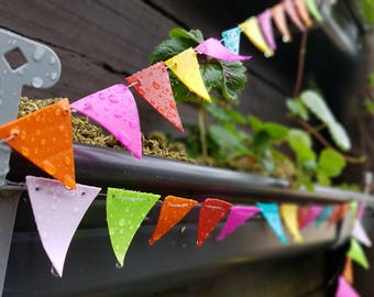 Upcycled Restringable Mini Garden Bunting