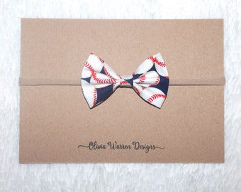 Baseball bow; fabric bow; red and blue baseball bow