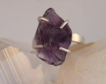 Natural Amethyst Crystal Sterling Silver Ring Size 8