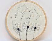 Three Dandelions embroidery hoop