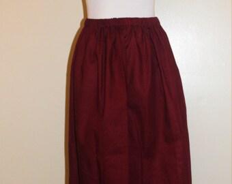 Pioneer Skirt, Trek Skirt, Pilgrim Skirt, Pioneer Costume, Dark Red Skirt