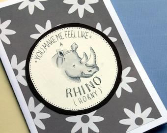 Funny Valentine's card - Rhino