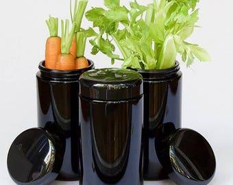 1000 ml Veggie jar, Kitchen jar, Miron Violet Glass, Black Jar, smoothie jar, vegan jar, containers, glass jar, Candy buffet jar, Yoga jar